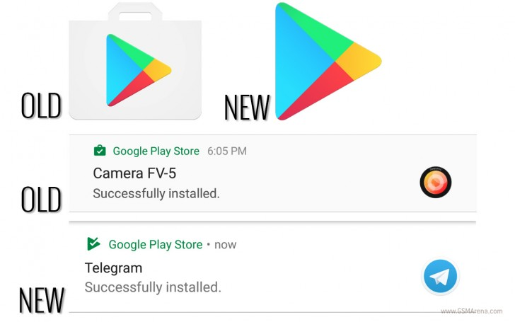 Play store icon loses the bag in favor of modernity gsmarena news the new design covers both the app icon and the notification icons where the bag icon is now a triangle stopboris Image collections