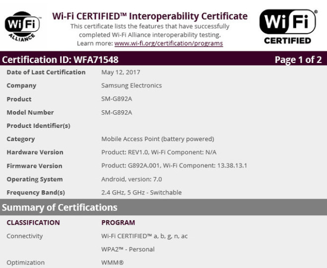Samsung Galaxy S8 active receives WiFi certification