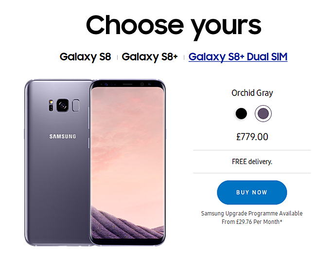 Dual-SIM Samsung Galaxy S8+ now available in UK - GSMArena