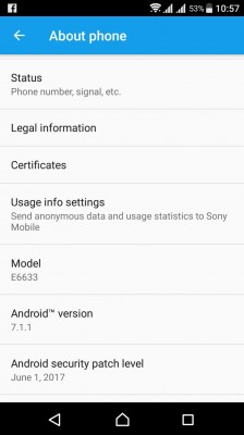 Xperia Z5 Dual's About screen after the update