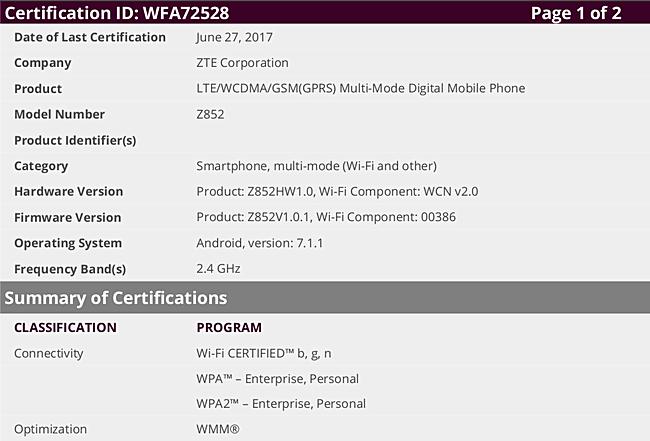 New Nougat-powered ZTE phones get WiFi certified - GSMArena