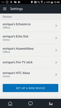 Amazon Alexa app list of devices