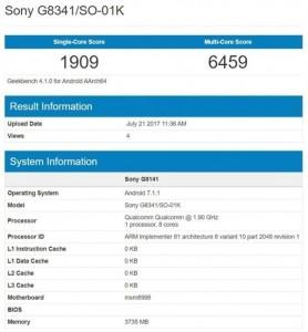 Sony G8341/SO-01K (Xperia XZ1) on Geekbench