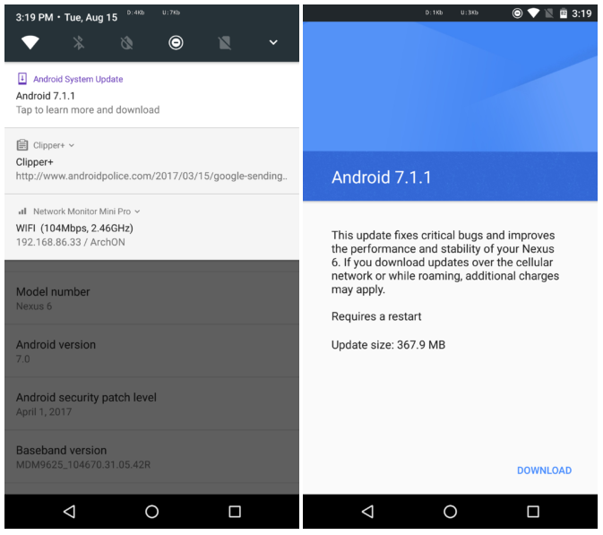 Android 7 1 1 for Nexus 6 rolling out again - GSMArena com news