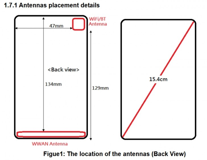 a simple antenna schematic also offers an idea of the phoneu0027s dimensions with a diagonal of 154cm the previously suggested display size of 45 or possibly