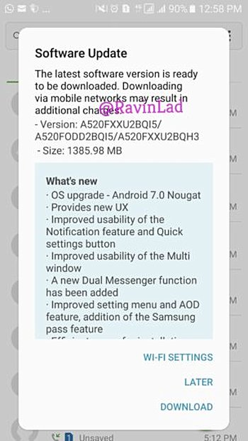 Nougat for Samsung Galaxy A5(2017) and A7 (2017) arrives in