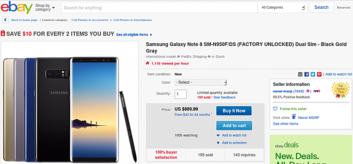 Dual-SIM Samsung Galaxy Note8 available in US for $890
