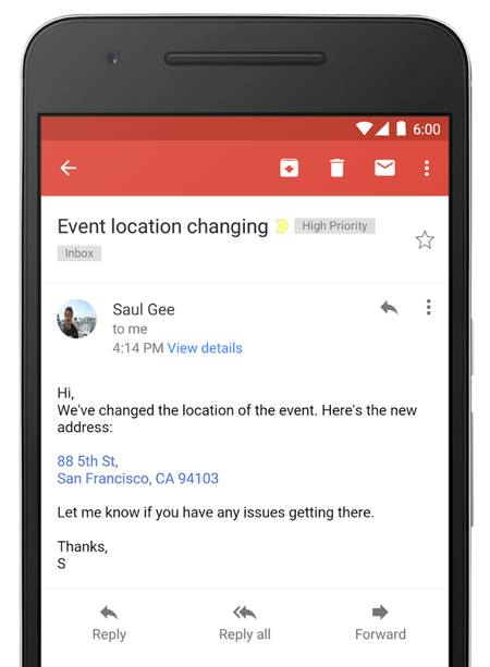 gmail now converts addresses and phone numbers to interactive