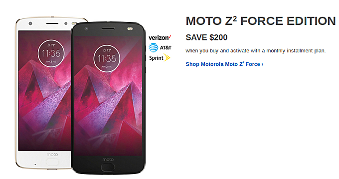 Motorola Moto Z2 Force gets a $200 price cut in the US