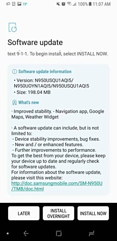 New update hitting Samsung Galaxy Note8 units on T-Mobile