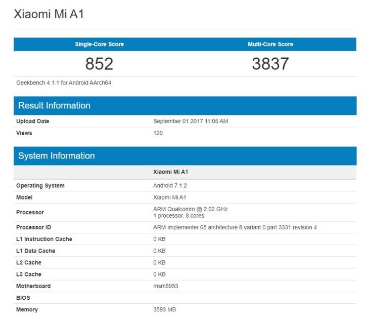 Xiaomi Mi A1 shines on Geekbench - GSMArena com news