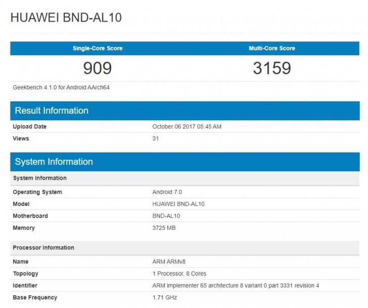 Honor 7X shows up on Geekbench a day before official launch
