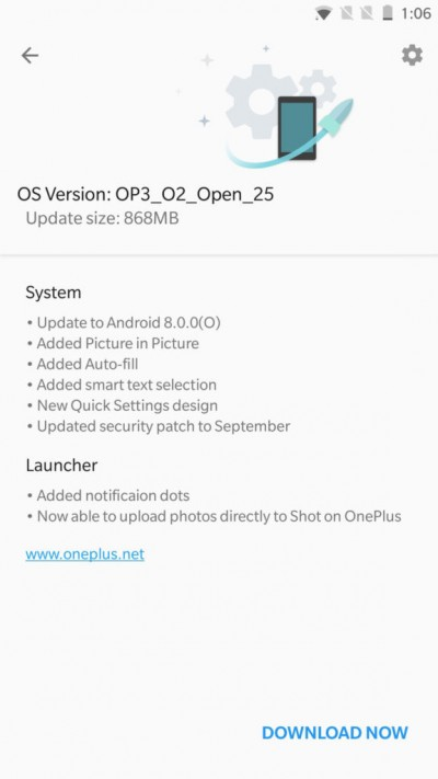 First Oreo Open Beta OxygenOS ROM now available for OnePlus