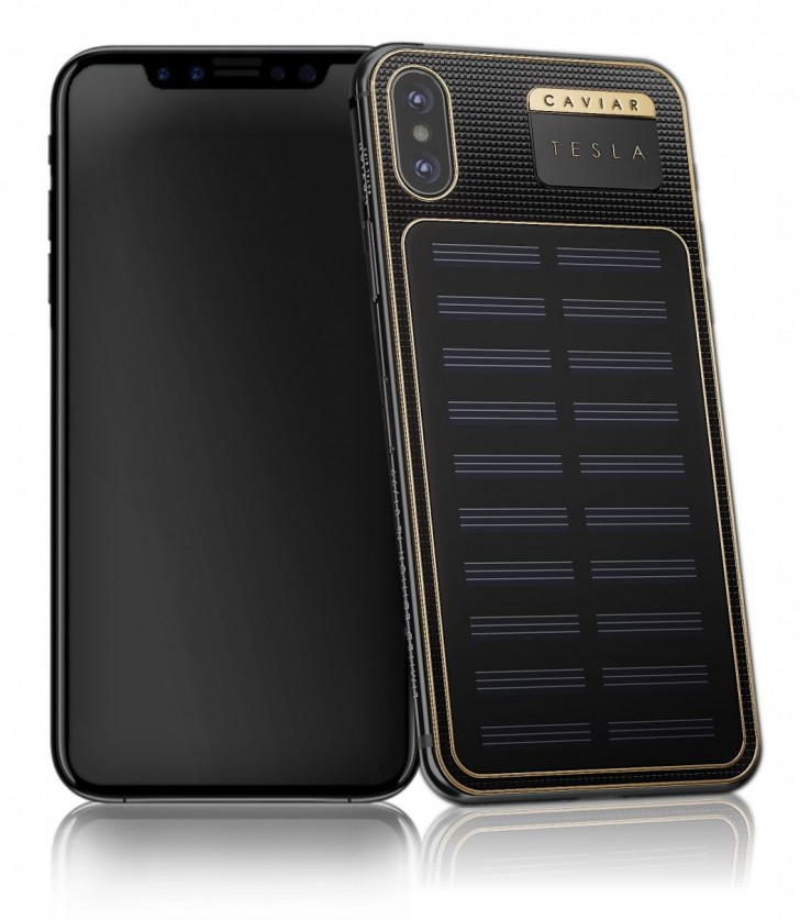 the latest ad9c6 dfa5b Caviar introduces iPhone X Tesla with solar panel on the back ...