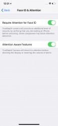 Face ID & Attention settings