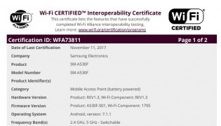 Samsung Galaxy A5 (2018) Wi-Fi certification
