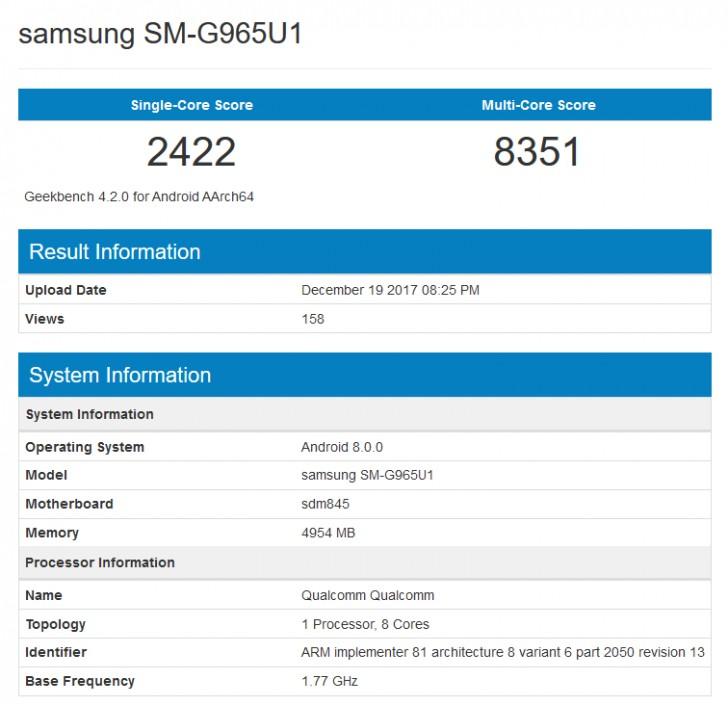 Galaxy S9+ on GeekBench listing