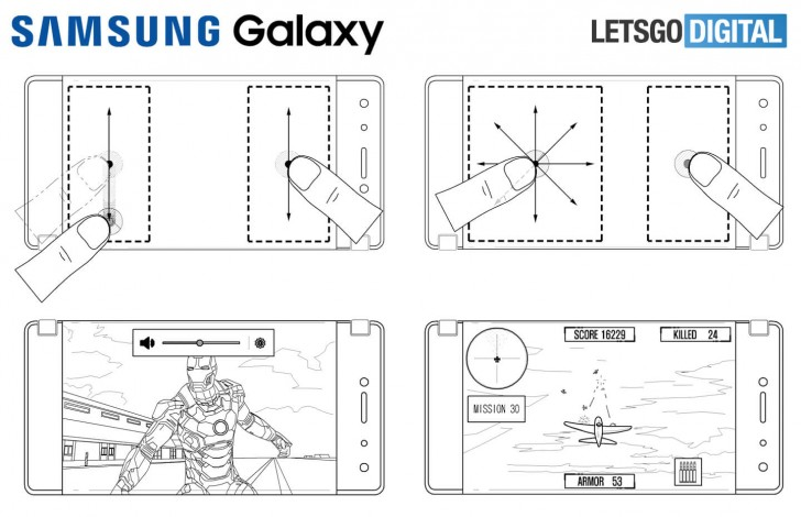 Samsung patents describe gameplay on a foldable dual screen phone