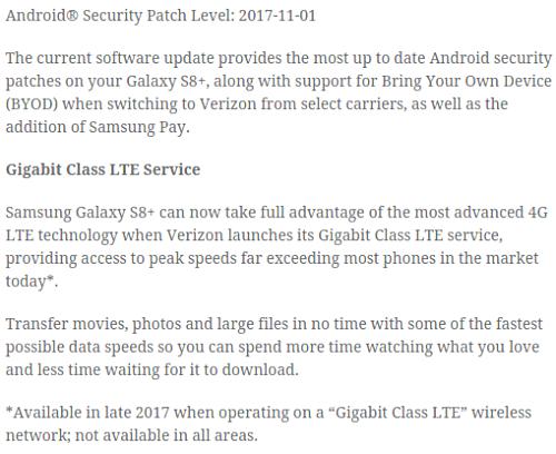 Samsung Galaxy S8/S8+ on Verizon getting Gigabit LTE support