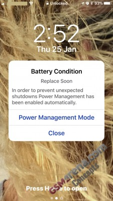 Concept: notification indicating a change of state in your iPhone battery