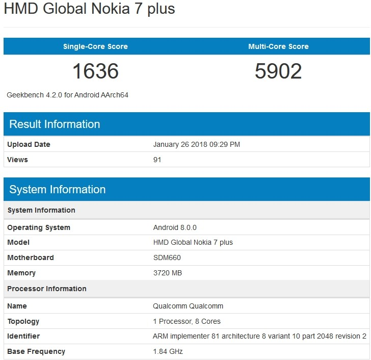 Mysterious Nokia 7 Plus spotted in GeekBench listing - GSMArena com news