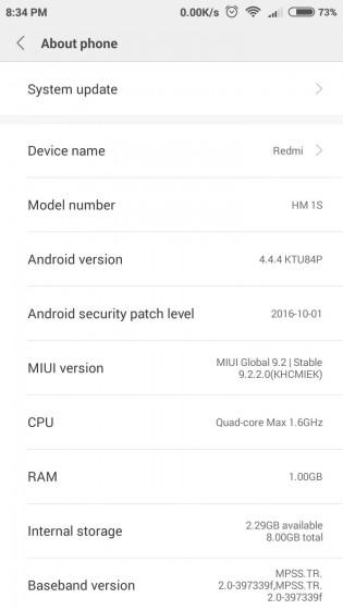 Xiaomi Redmi 1S MIUI 9 screenshots