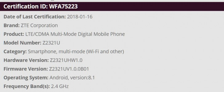 New ZTE handset with Android 8 1 Oreo on board gets Wi-Fi certified