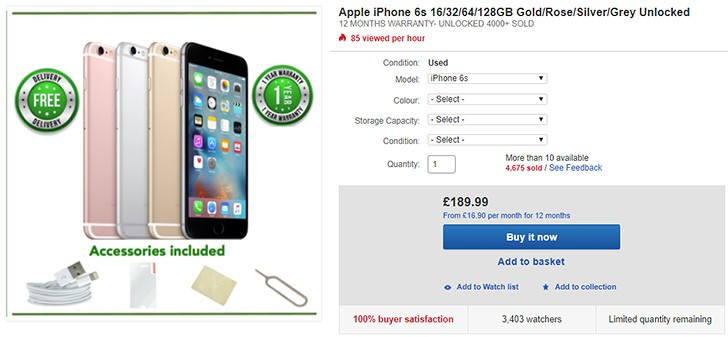 Deal: used iPhone 6s (Grade A) starting from £200