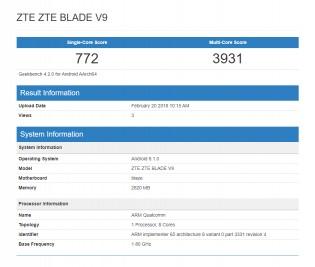 Geekbench results: ZTE Blade V9