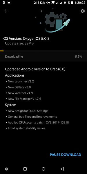 OnePlus 5T Oreo update now arriving as OxygenOS 5.0.3
