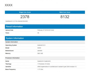 Snapdragon 845-powered device leaves its footprints in Geekbench 4.2