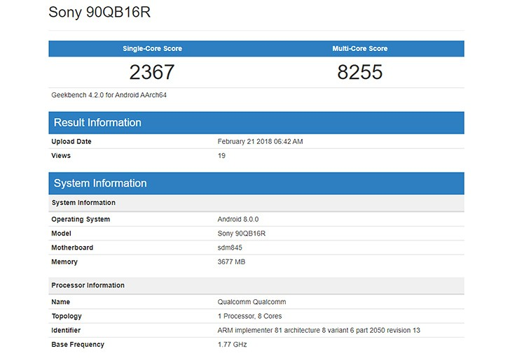 Another Sony Xperia with Snapdragon 845 chipset visits Geekbench