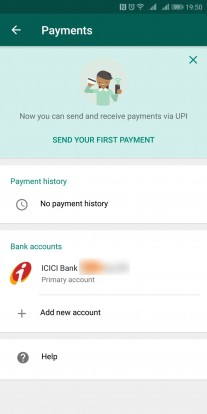 WhatsApp payments interface