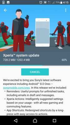 Sony Xperia X updating to Oreo