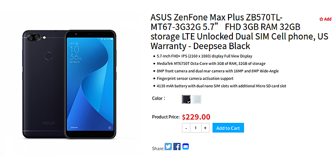 asus zenfone max plus m1 now available in us news. Black Bedroom Furniture Sets. Home Design Ideas