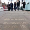 Huawei's power-washed pavement graffiti for the Huawei P20