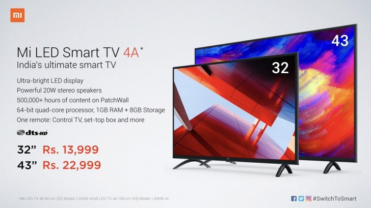 Xiaomi launches Mi LED Smart TV 4A in India GSMArenacom news