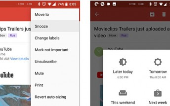 Gmail for Android getting 'snooze' and 'mark unread from here' features