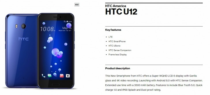 Verizon leaks a bit of HTC U12