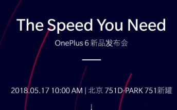 The OnePlus 6 will be officially announced on May 17 in China