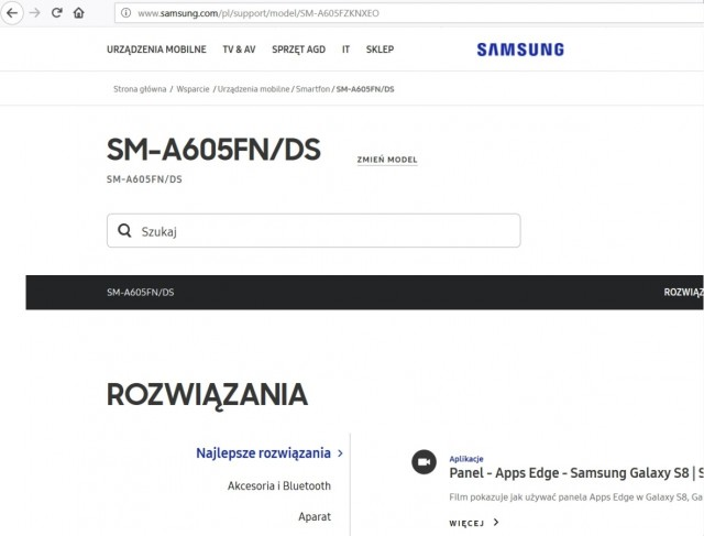 Screengrab du site de Samsung Poland