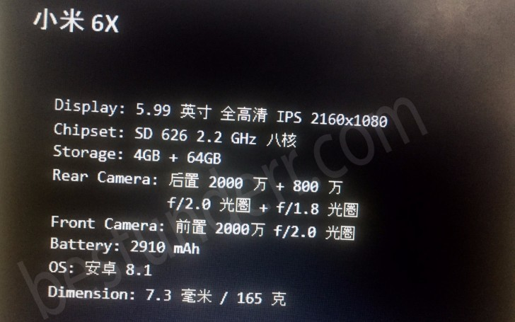 Xiaomi Mi 6X new leak confirms Snapdragon 626 chipset, camera