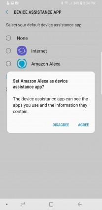 Setting Alexa as the default assistant on Galaxy S9+