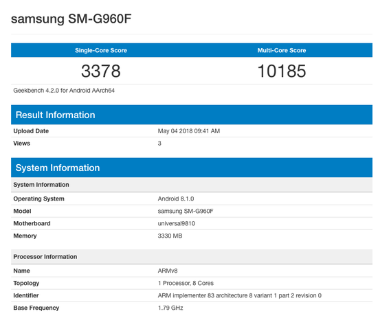 Samsung Galaxy S9 running Android 8.1(Oreo) appears on Benchmarks