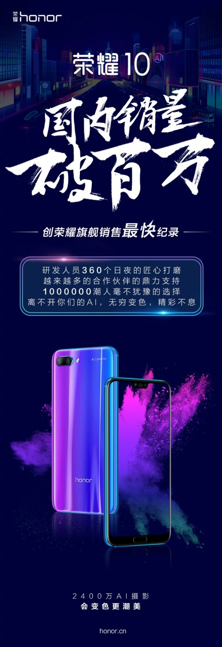 Huawei has sold 1 million Honor 10's in China in under a