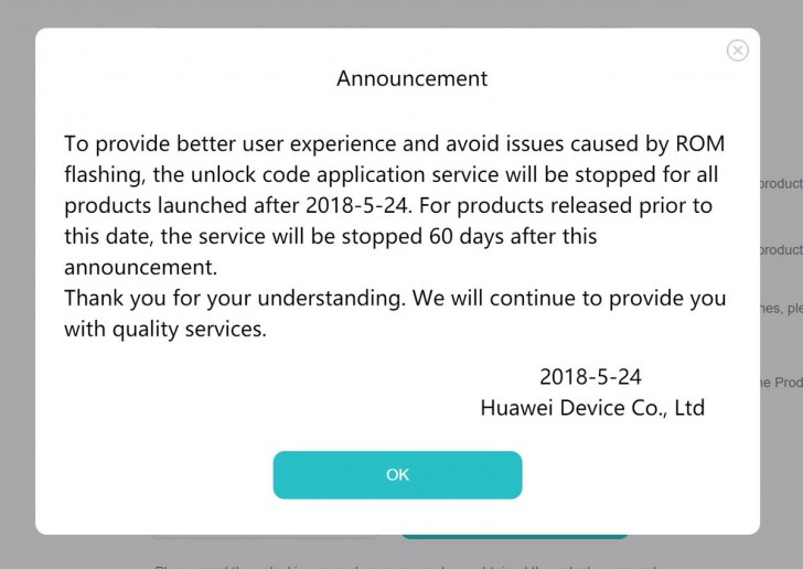 Huawei's bootloader unlock service is being shut down