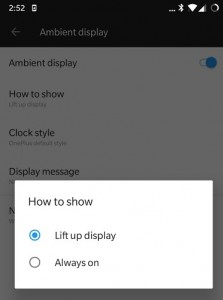 The now-removed Always On Display option