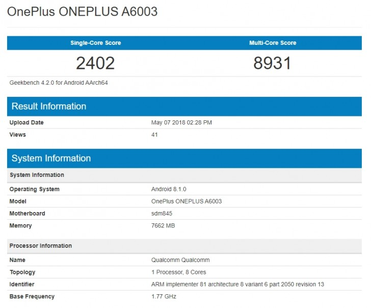 OnePlus 6 shines on Geekbench week ahead of launch