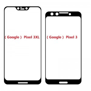 Google Pixel 3 and 3 XL purported screen protectors (left) and schematics based on them (right)