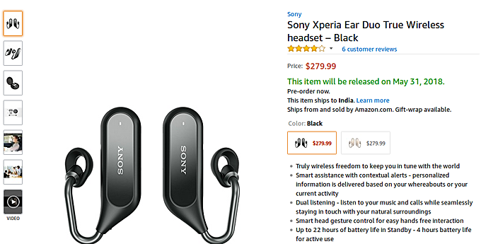 f73d5292891 The Sony Xperia Ear Duo is now available for pre-order in the United  States. The pre-order link on the Japanese company's official US website  takes you to ...
